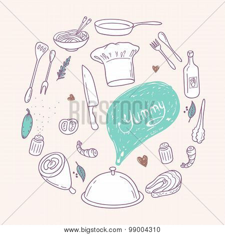 Round illustration with stylized food, hand lettering and scribble speach bubble. Doodle design elem