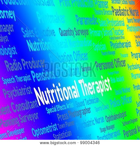 Nutritional Therapist Represents Work Nutriment And Foods