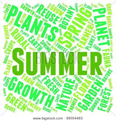 Summer Word Indicates Warm Summertime And Text
