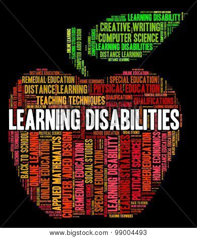 Learning Disabilities Words Means Special Education And Educate