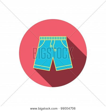 Shorts icon. Casual clothes shopping sign.