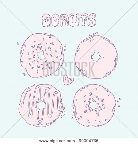 Set of Hand drawn donuts isolated in vector. Sweet lettering. Doodle dessert