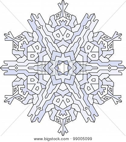 Outlines Of Snowflake In Mono Line Style. Vector Geometric Pattern In Blue Tones.