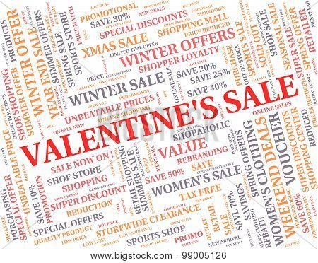 Valentine's Sale Means Valentines Day And Bargains