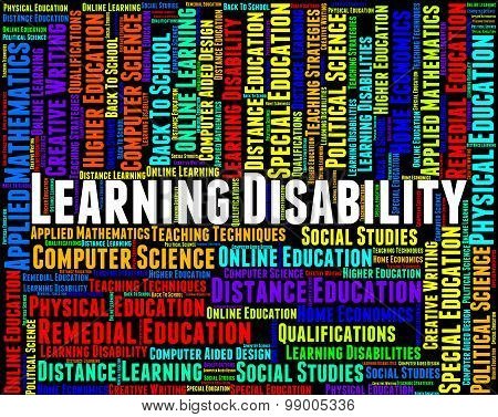 Learning Disability Words Represents Special Needs And Disabled