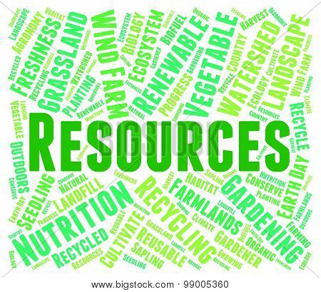 Resources Word Shows Raw Materials And Collateral
