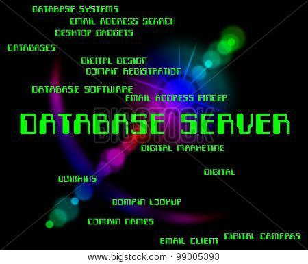 Database Server Indicates Computer Databases And Hosting