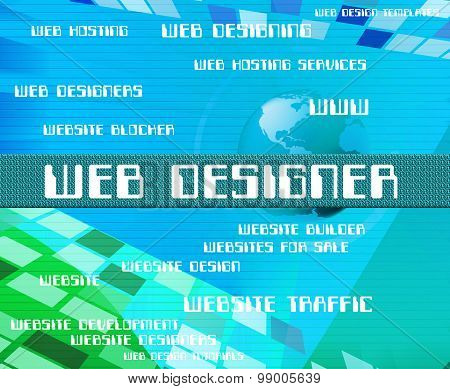 Web Designer Indicates Net Words And Www