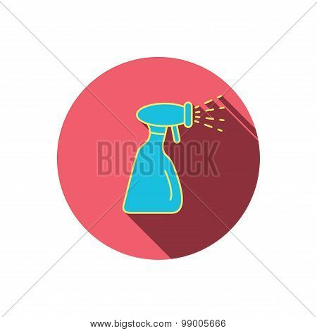 Cleaning spray bottle icon. Washing tool sign.