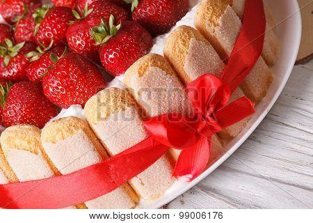 Strawberry Cake Charlotte With Savoiardi Macro. Horizontal