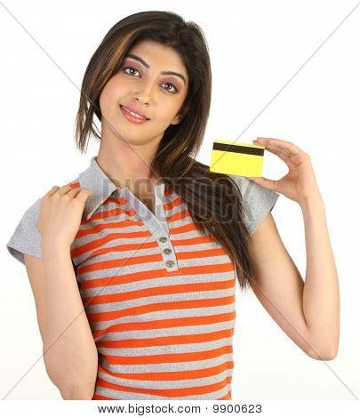 Young girl with the credit card