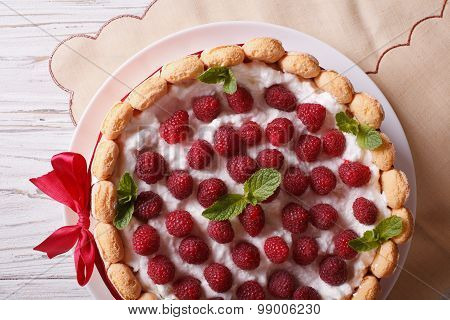 Raspberry Charlotte Cake With Savoiardi Closeup. Horizontal Top View