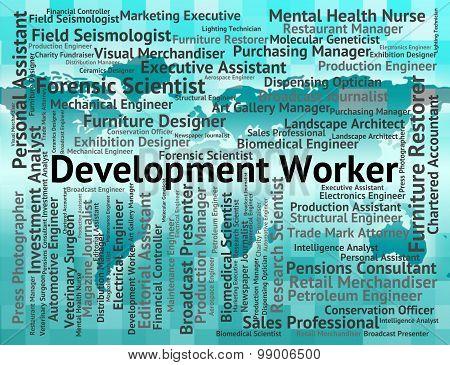 Development Worker Represents Blue Collar And Craftsman