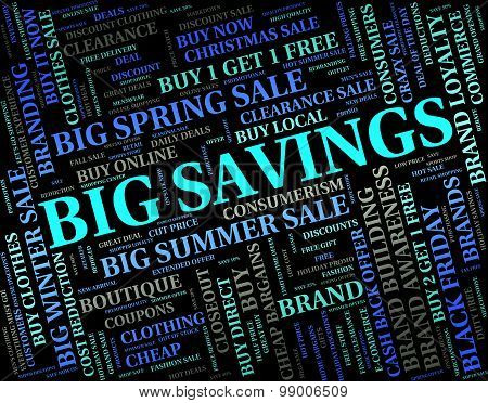 Big Savings Represents Text Huge And Growth