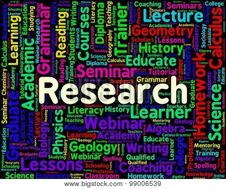 Research Word Represents Data Exploration And Information