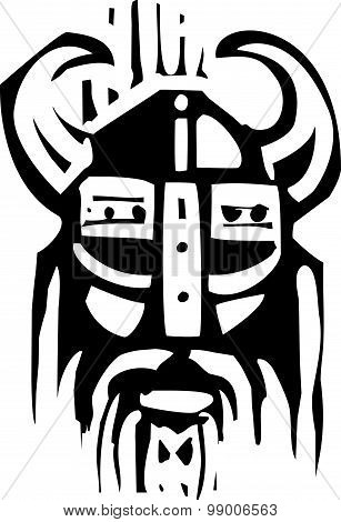Woodcut Viking Face