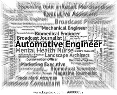 Automotive Engineer Shows Mechanics Words And Text