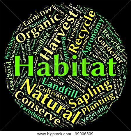 Habitat Word Shows Animal Text And Dwelling