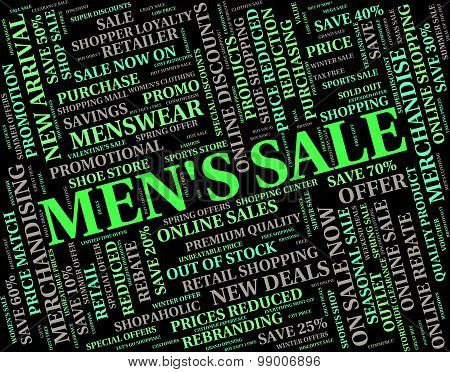 Mens Sale Indicates Reduction Closeout And Discounts