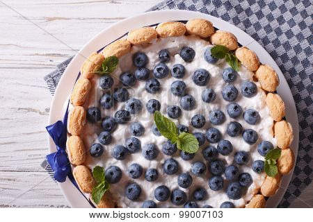 French Blueberry Cake Charlotte Close-up On A Plate. Horizontal Top View