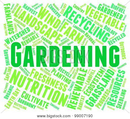 Gardening Word Means Lawn Outdoor And Yard