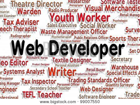 Web Developer Indicates Words Recruitment And Developers