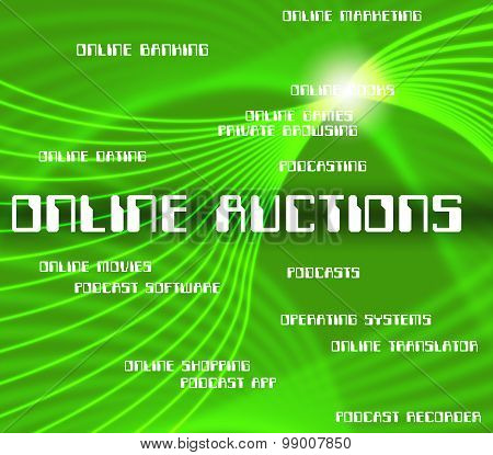Online Auctions Shows World Wide Web And Websites