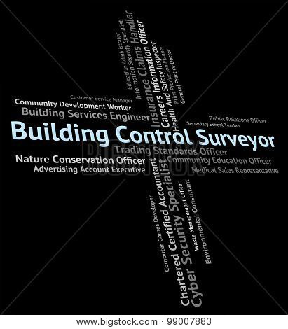 Building Control Surveyor Shows Word Buildings And Construction