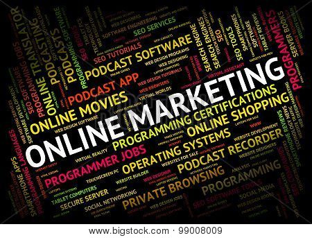 Online Marketing Shows World Wide Web And Promotion
