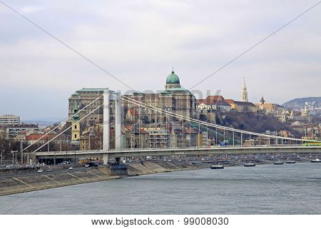 Elisabeth Bridge  Across The River Danube In Budapest, Hungary