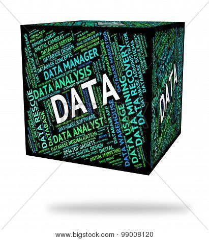 Data Word Represents Facts Words And Technology