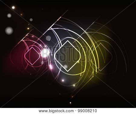 Glowing elements and blending colors in dark space.  illustration. Abstract background