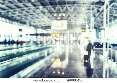Blurred Background Of Airport Terminal In Blue Tone