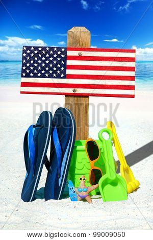 Wooden Signboard With Usa Flag