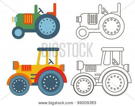 Doodle retro agricultural tractors .