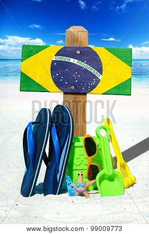Wooden Signboard With Brasil Flag