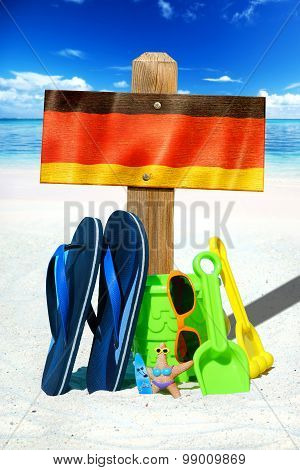 Wooden Signboard With German Flag
