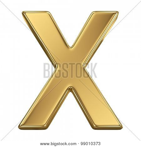 Golden shining metallic 3D symbol letter X - isolated on white