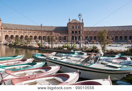 Boats At The Plaza De Espana In Seville