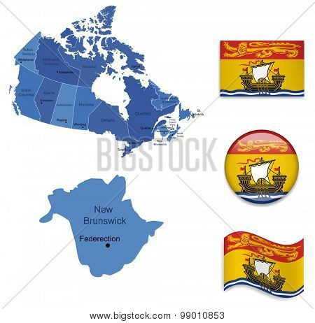Canada-New Brunswick-Map and Flag Collection