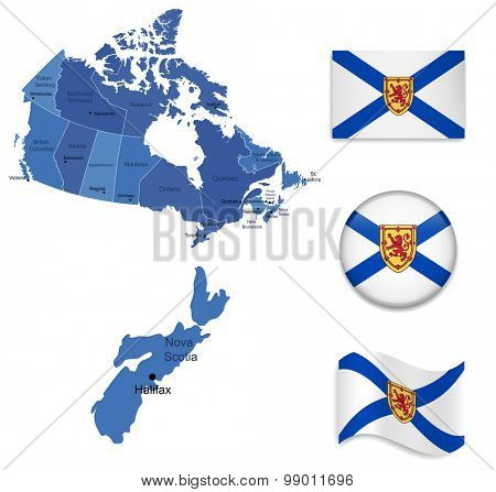 Canada-New Scotia-Map and Flag Collection