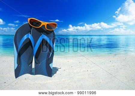 Orange Sunglasses And Flip Flops