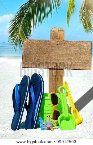 Wooden Signboard And Flip Flops