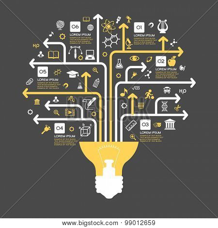 Tree of knowledge. The concept of the learning sciences. The abstraction of the icons on the subject of teaching. School symbol form of a tree.  Infographic education background