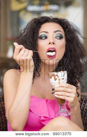 Pretty Woman With Dessert