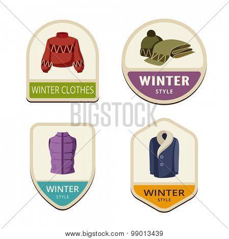 Winter Clothes vintage labels design vector logo templates icons.  Jacket, Hat, Coat Logotype icons set illustrations.
