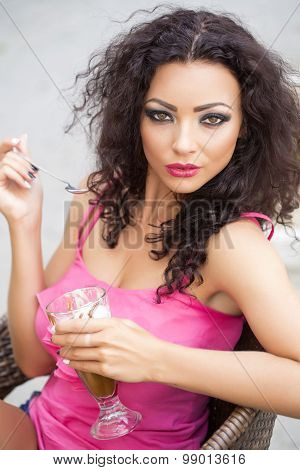 Smiling Woman With Dessert