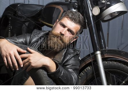 Attractive Man With Wheel