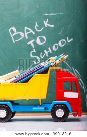 Colorful School Stationary And Car