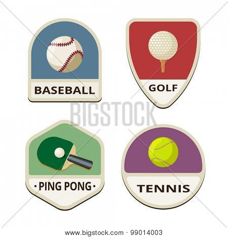 Baseball, Golf, Ping pong, Tennis balls flat labels design vector logo templates icons.  Ball Sport Logotype icons set illustrations.